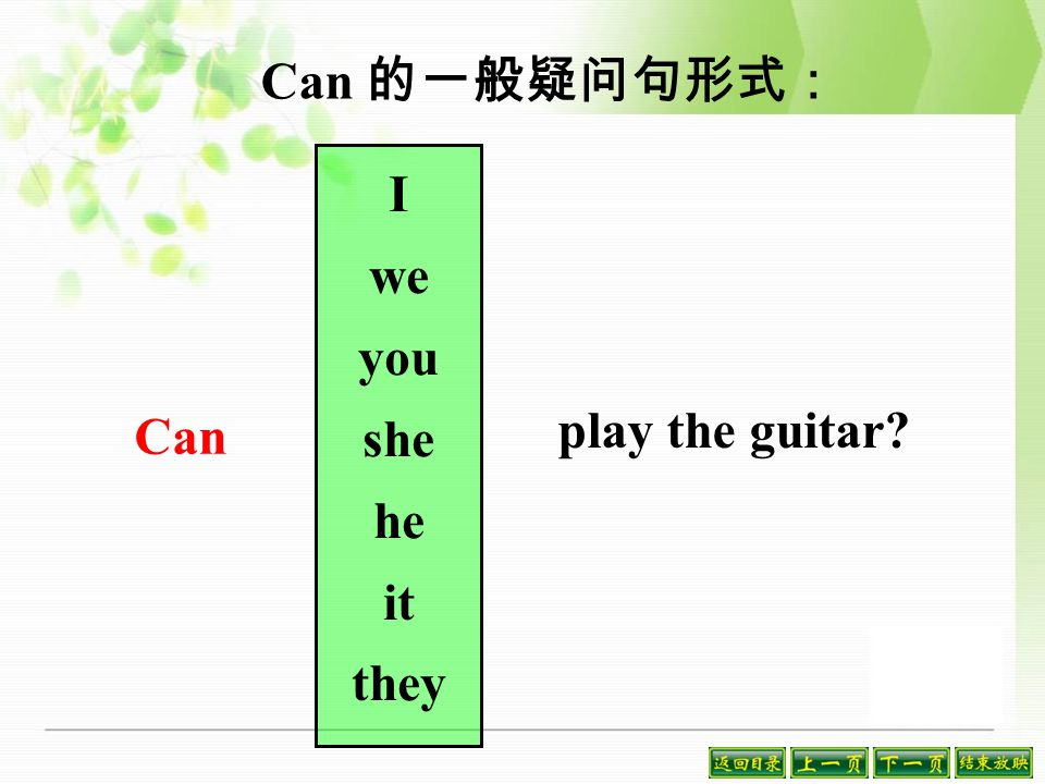 can 的肯定句及否定句形式: I We You She He It They can/ can't play the guitar.