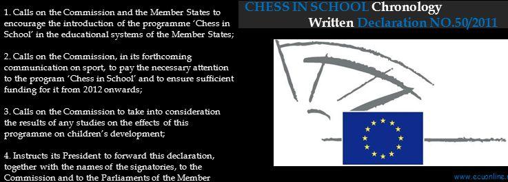 CHESS IN SCHOOL Chronology Written Declaration NO.50/2011 1.