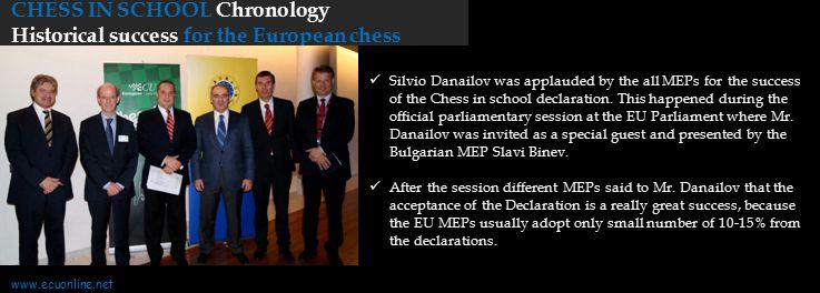 CHESS IN SCHOOL Chronology Historical success for the European chess Silvio Danailov was applauded by the all MEPs for the success of the Chess in sch