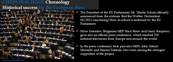 CHESS IN SCHOOL Chronology Historical success for the European chess The President of the EU Parliament, Mr.