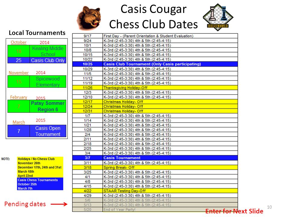 10 Pending dates Casis Cougar Chess Club Dates Local Tournaments 2015 2014 Enter for Next Slide