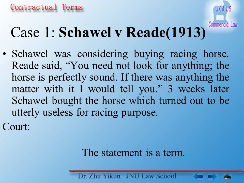 Case 1: Schawel v Reade(1913) Schawel was considering buying racing horse.
