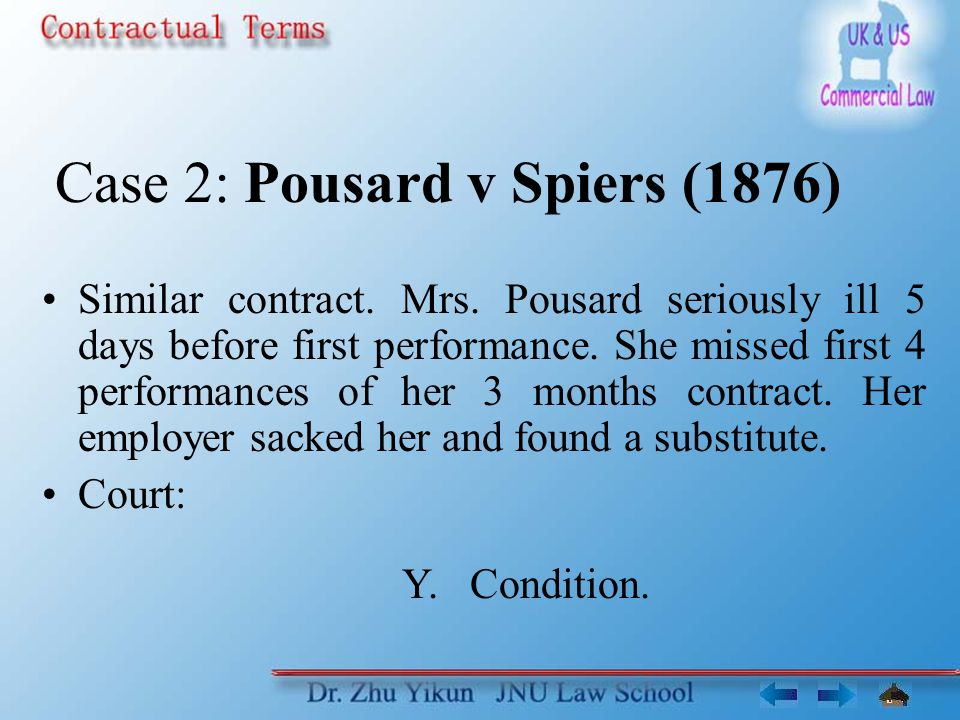 Case 2: Pousard v Spiers (1876) Similar contract. Mrs.