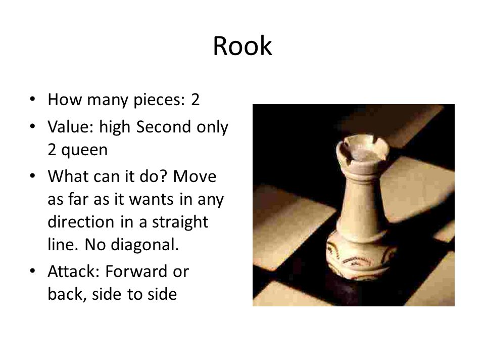 Queen How many pieces: 1 Value: Highest in strategic value, you do not want to lost this piece!.