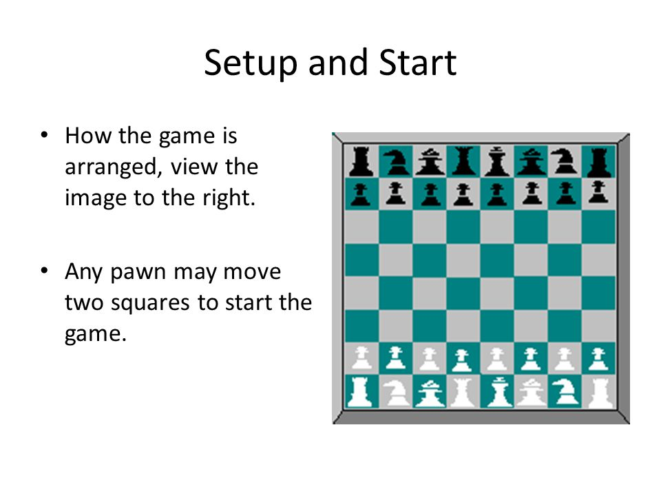 Setup and Start How the game is arranged, view the image to the right. Any pawn may move two squares to start the game.