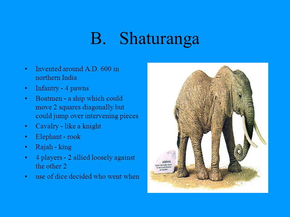 B.Shatranj Gambling was forbidden in India,so they got rid of the dice and did other changes by 650 AD the game had reached the Arab kingdoms –became a 2 player game –2 Rajahs were demoted to Prime Ministers –moves of the elephant and the ships were swapped –resulting game was called Shatranj