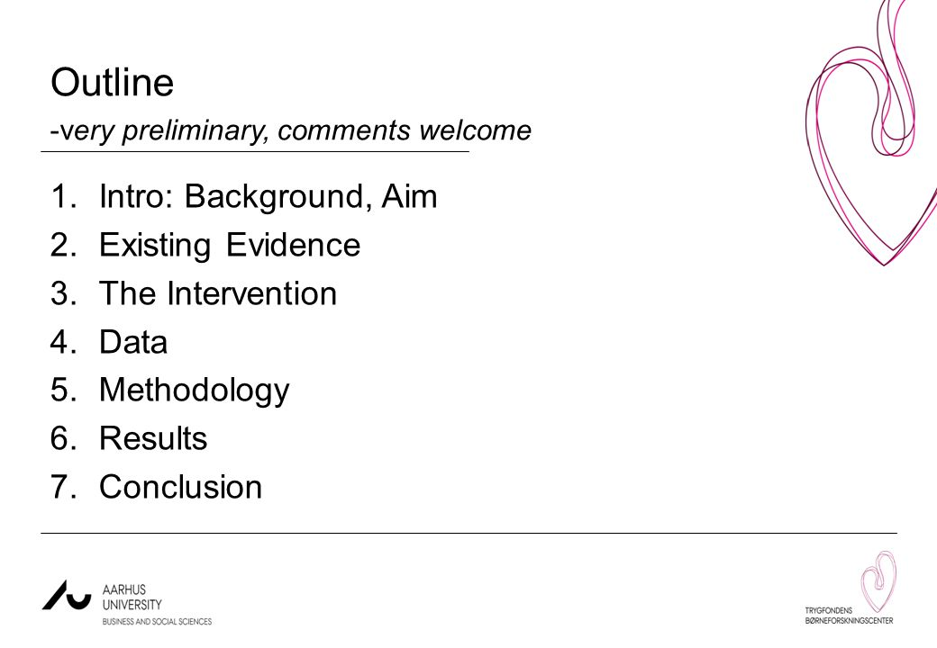 Outline -very preliminary, comments welcome 1.Intro: Background, Aim 2.Existing Evidence 3.The Intervention 4.Data 5.Methodology 6.Results 7.Conclusion