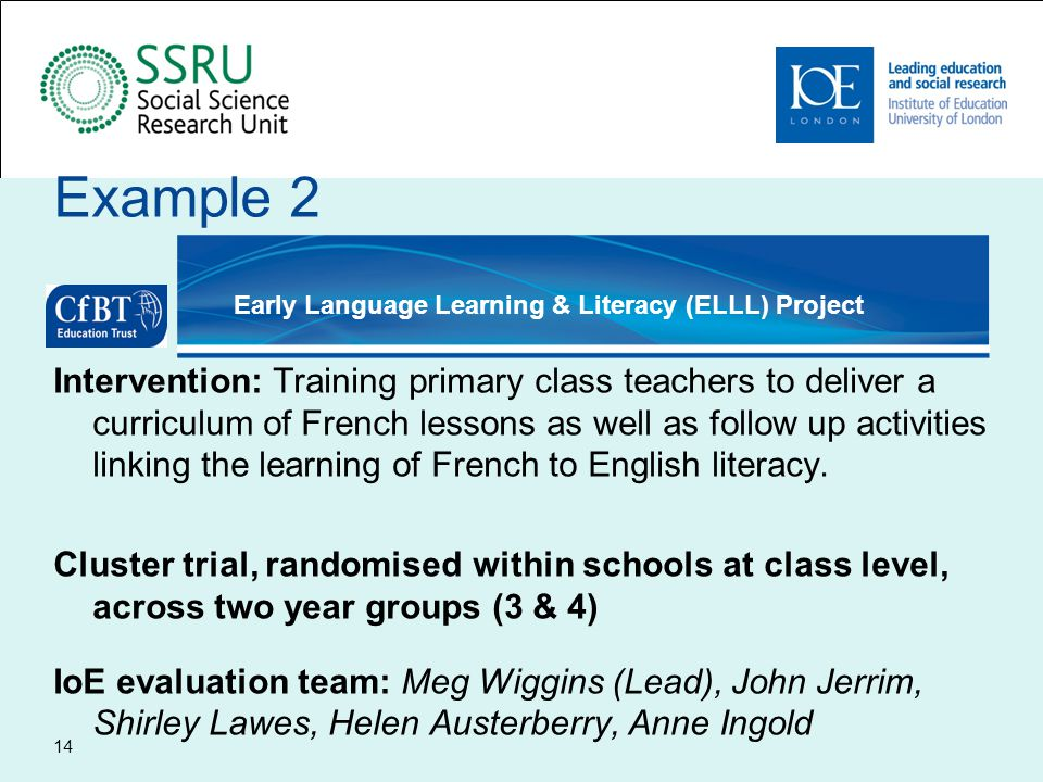 Early Language Learning - Recruitment Design of study influenced by: –Tight study timeline – curriculum changes – required post intervention testing –Extremely short recruitment window prior to commencement of teacher training –Capacity to deliver intervention to limited numbers Challenges in determining inclusion criteria for schools Key issues around specialist language teachers and within schools randomisation design Over burdening of London schools – EEF issue 15
