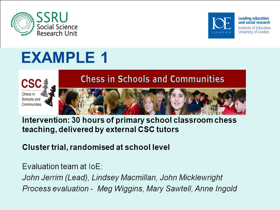 Chess in Schools - Recruitment Community organisation – small central staff team Recruitment expectations – return to known ground Recruitment reality – IoE provided lists of schools selected on FSM % criteria, in their chosen Las Capacity issues, limited understanding about RCTs, huge enthusiasm for the evaluation
