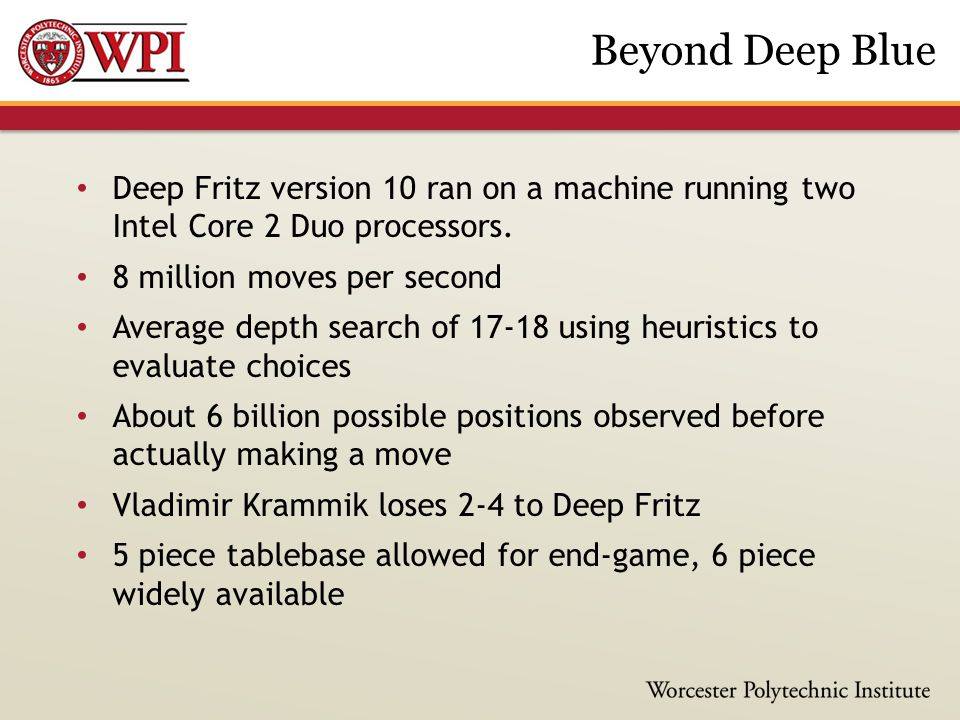 Deep Fritz version 10 ran on a machine running two Intel Core 2 Duo processors.
