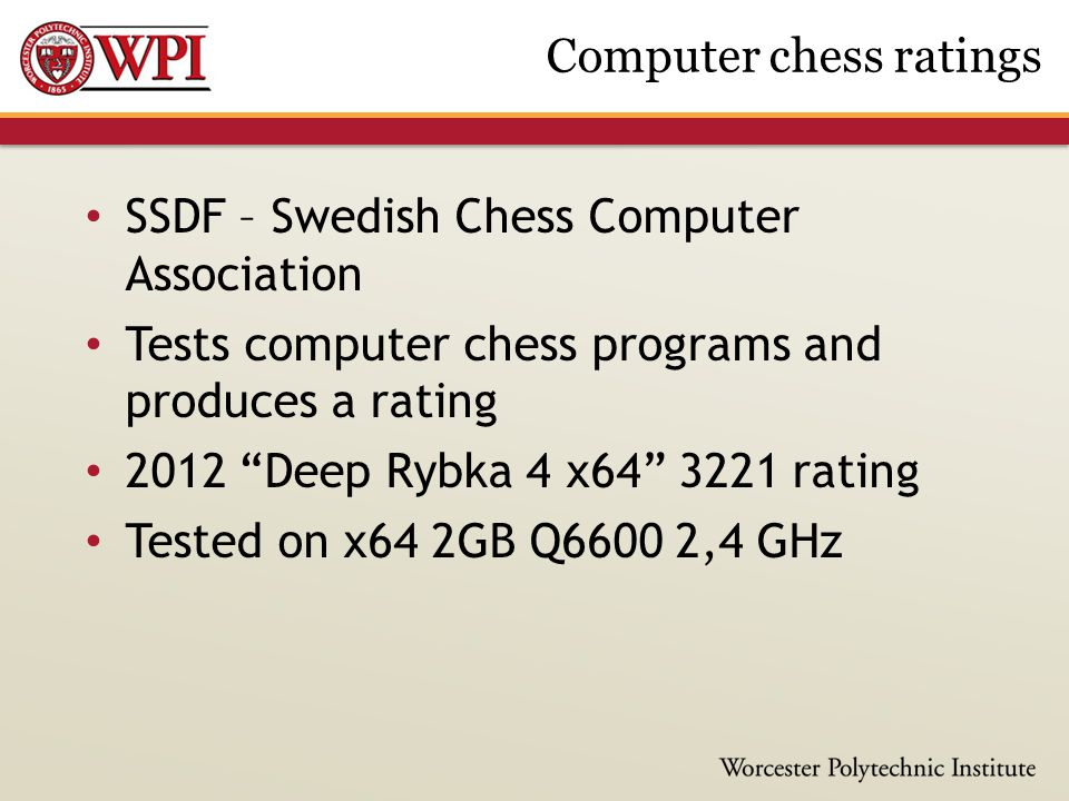 SSDF – Swedish Chess Computer Association Tests computer chess programs and produces a rating 2012 Deep Rybka 4 x64 3221 rating Tested on x64 2GB Q6600 2,4 GHz Computer chess ratings