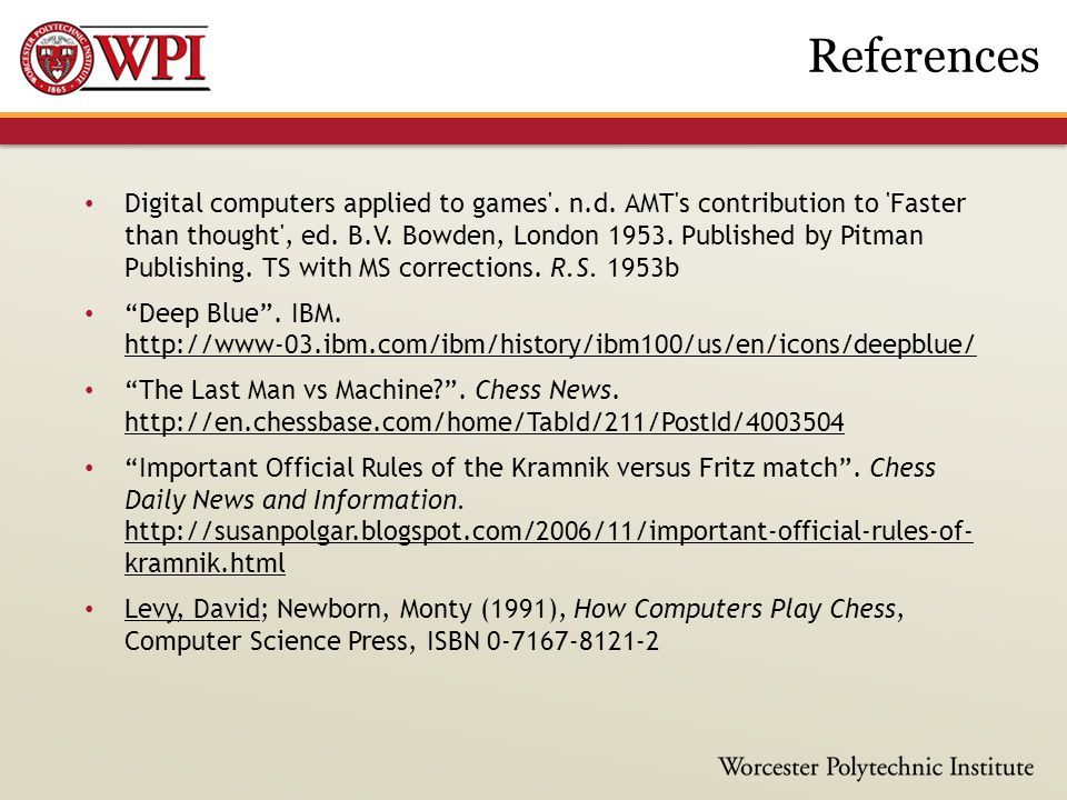 Digital computers applied to games . n.d. AMT s contribution to Faster than thought , ed.