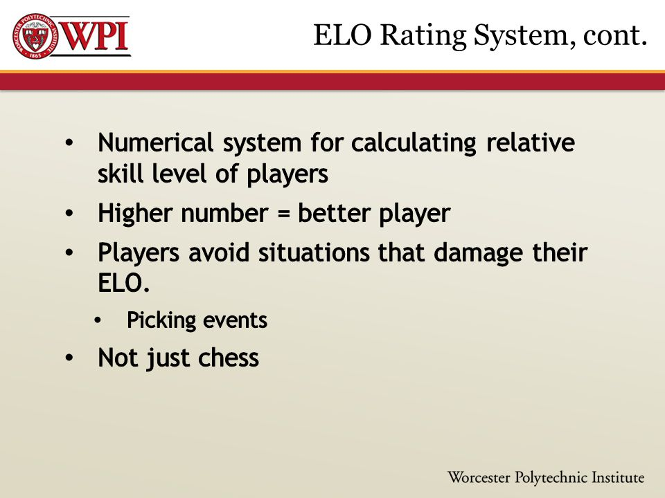 ELO Rating System, cont.