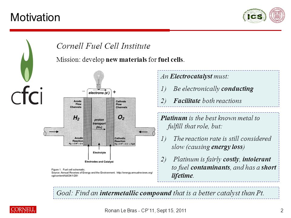 Motivation Ronan Le Bras - CP'11, Sept 15, 20112 Cornell Fuel Cell Institute Mission: develop new materials for fuel cells.