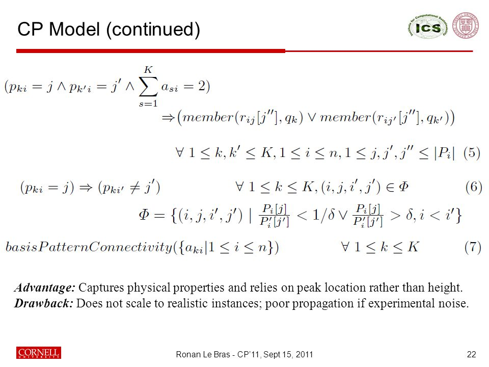CP Model (continued) 22 Advantage: Captures physical properties and relies on peak location rather than height.