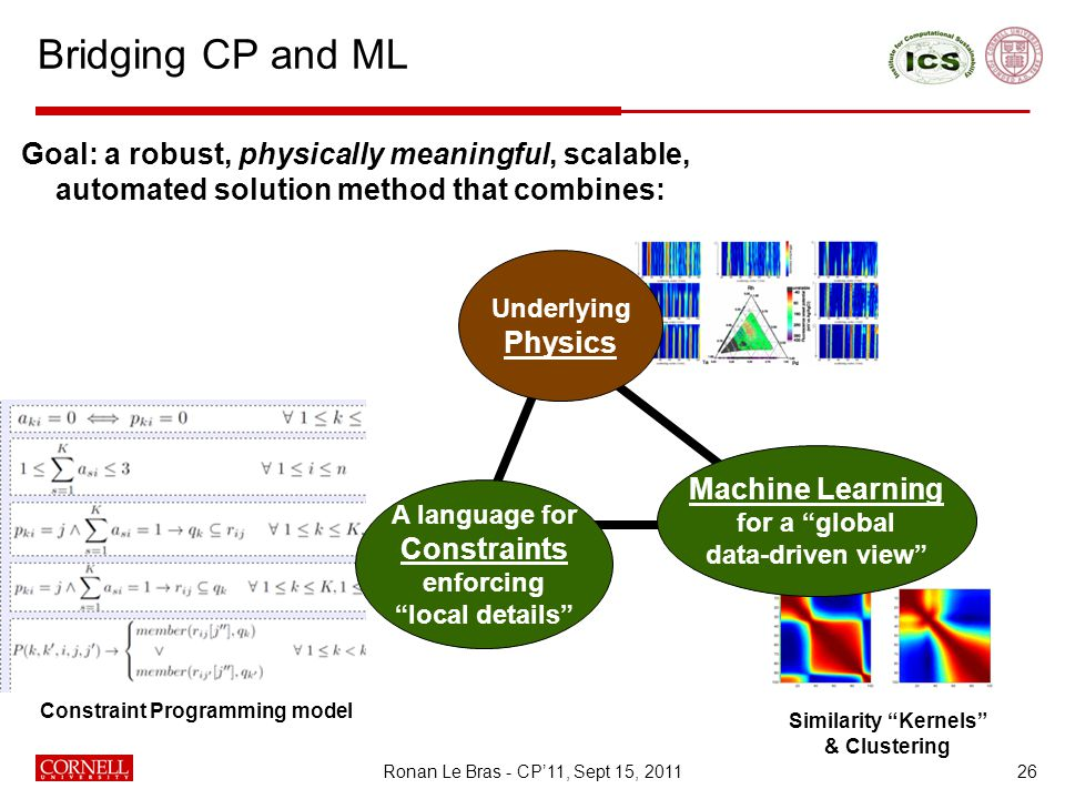 Bridging CP and ML 26 Goal: a robust, physically meaningful, scalable, automated solution method that combines: Similarity Kernels & Clustering Machine Learning for a global data-driven view Underlying Physics A language for Constraints enforcing local details Constraint Programming model Ronan Le Bras - CP'11, Sept 15, 2011