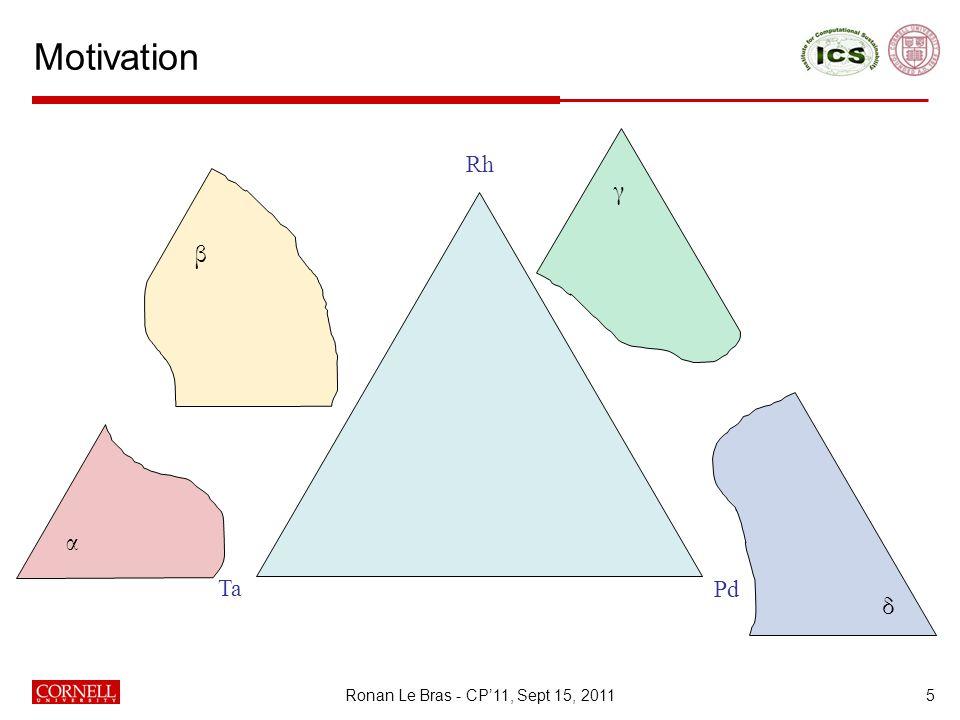 Motivation 5 Ta Rh Pd α β δ γ Ronan Le Bras - CP'11, Sept 15, 2011