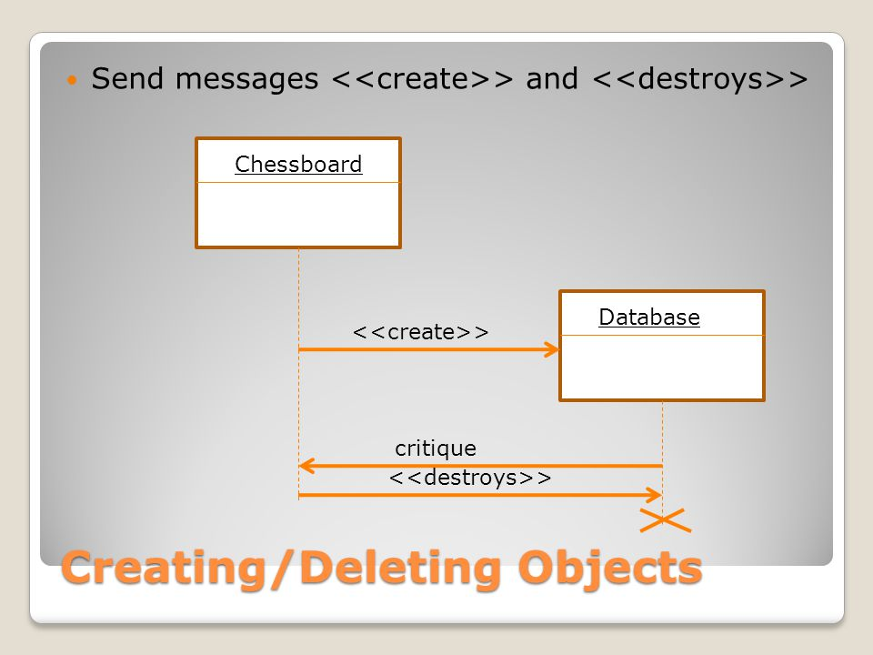 Creating/Deleting Objects Send messages > and > Chessboard Database > critique >