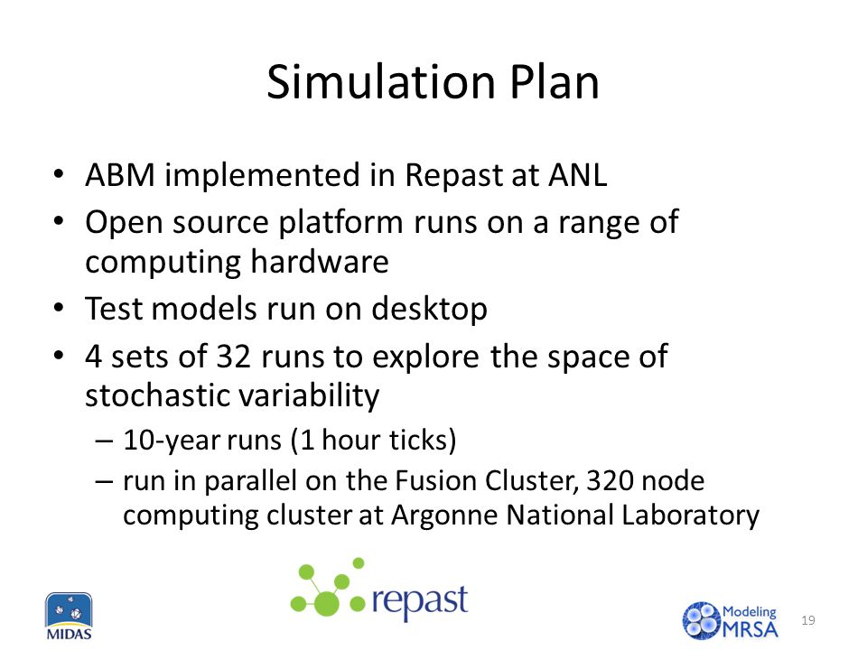 Simulation Plan ABM implemented in Repast at ANL Open source platform runs on a range of computing hardware Test models run on desktop 4 sets of 32 runs to explore the space of stochastic variability – 10-year runs (1 hour ticks) – run in parallel on the Fusion Cluster, 320 node computing cluster at Argonne National Laboratory 19