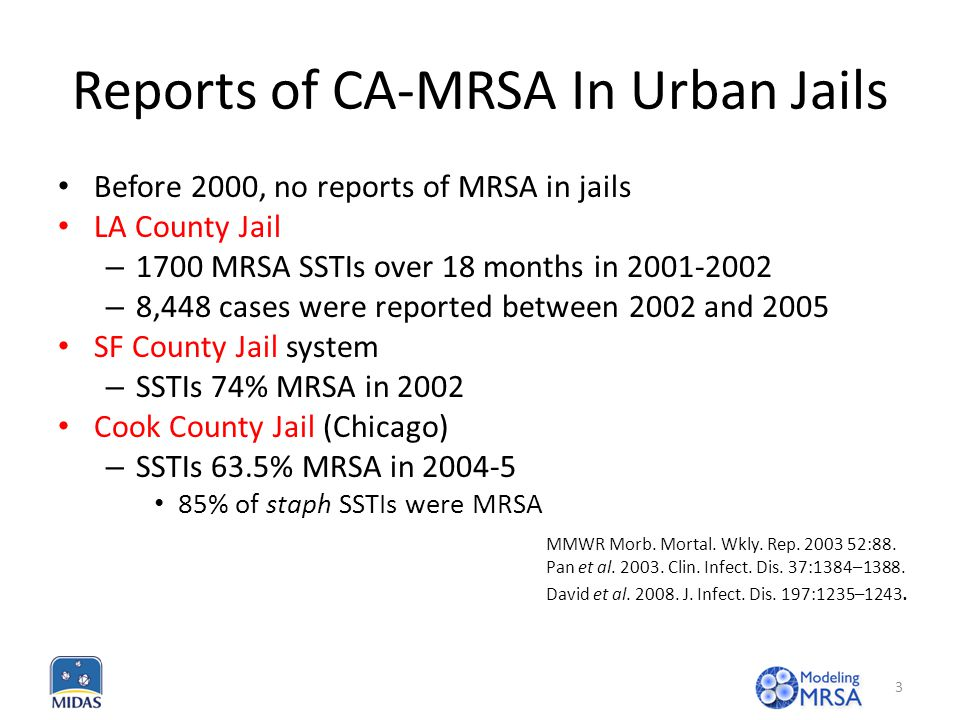 Reports of CA-MRSA In Urban Jails Before 2000, no reports of MRSA in jails LA County Jail – 1700 MRSA SSTIs over 18 months in 2001-2002 – 8,448 cases were reported between 2002 and 2005 SF County Jail system – SSTIs 74% MRSA in 2002 Cook County Jail (Chicago) – SSTIs 63.5% MRSA in 2004-5 85% of staph SSTIs were MRSA MMWR Morb.