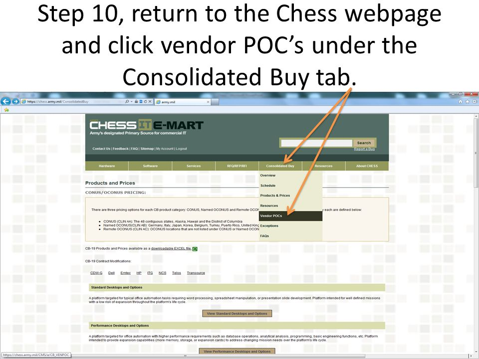 Step 10, return to the Chess webpage and click vendor POC's under the Consolidated Buy tab.