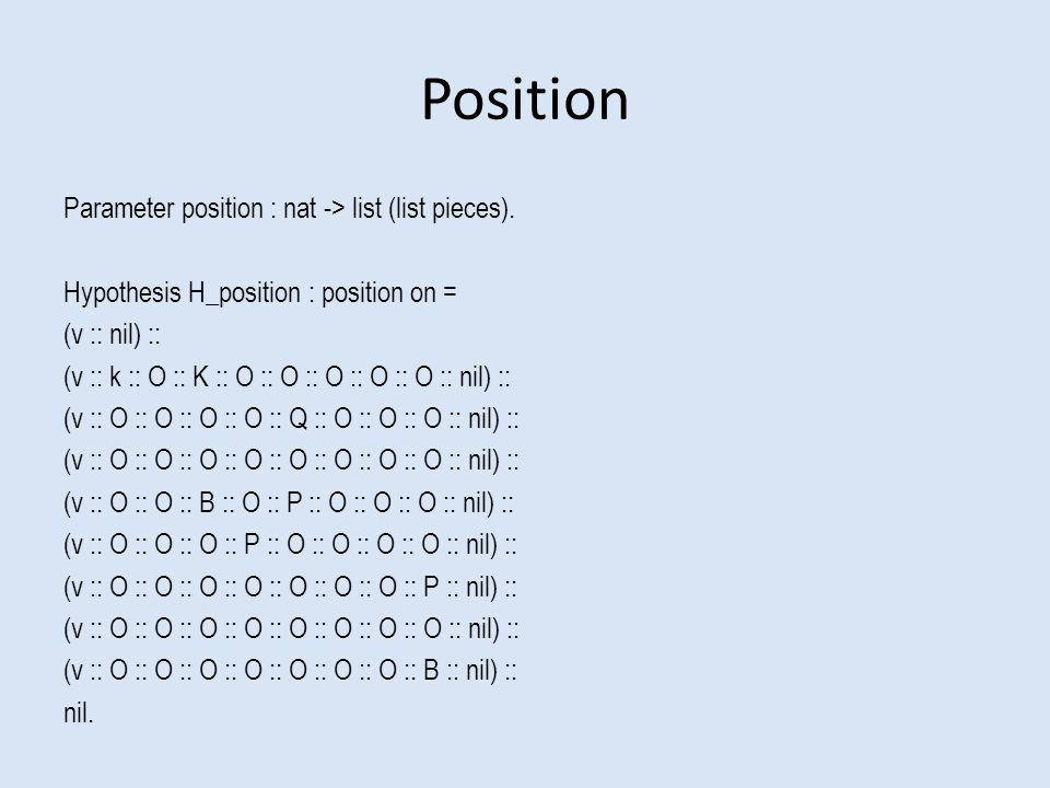 Position Parameter position : nat -> list (list pieces).
