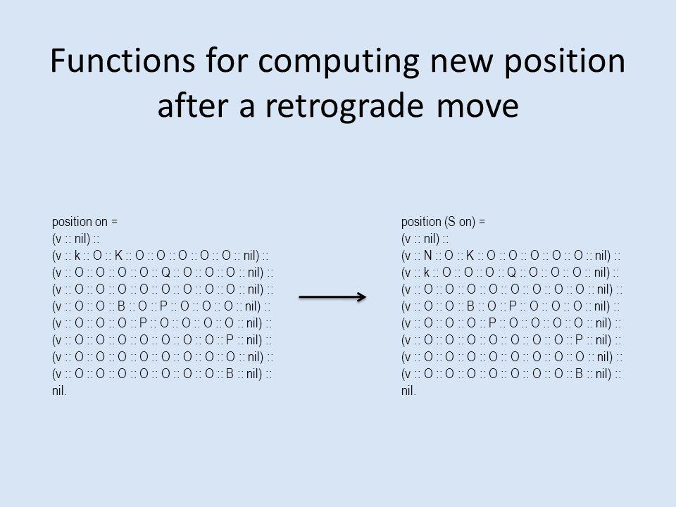 Functions for computing new position after a retrograde move position on = (v :: nil) :: (v :: k :: O :: K :: O :: O :: O :: O :: O :: nil) :: (v :: O :: O :: O :: O :: Q :: O :: O :: O :: nil) :: (v :: O :: O :: O :: O :: O :: O :: O :: O :: nil) :: (v :: O :: O :: B :: O :: P :: O :: O :: O :: nil) :: (v :: O :: O :: O :: P :: O :: O :: O :: O :: nil) :: (v :: O :: O :: O :: O :: O :: O :: O :: P :: nil) :: (v :: O :: O :: O :: O :: O :: O :: O :: O :: nil) :: (v :: O :: O :: O :: O :: O :: O :: O :: B :: nil) :: nil.