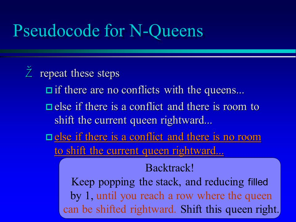 Pseudocode for N-Queens Žrepeat these steps p if there are no conflicts with the queens...