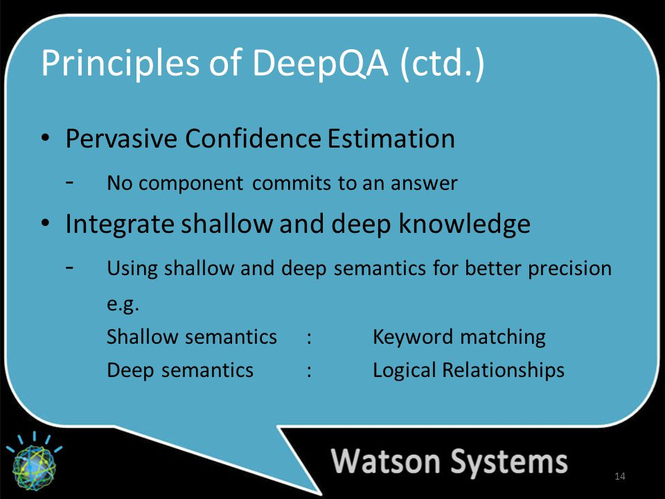 Principles of DeepQA (ctd.) Pervasive Confidence Estimation - No component commits to an answer Integrate shallow and deep knowledge - Using shallow and deep semantics for better precision e.g.