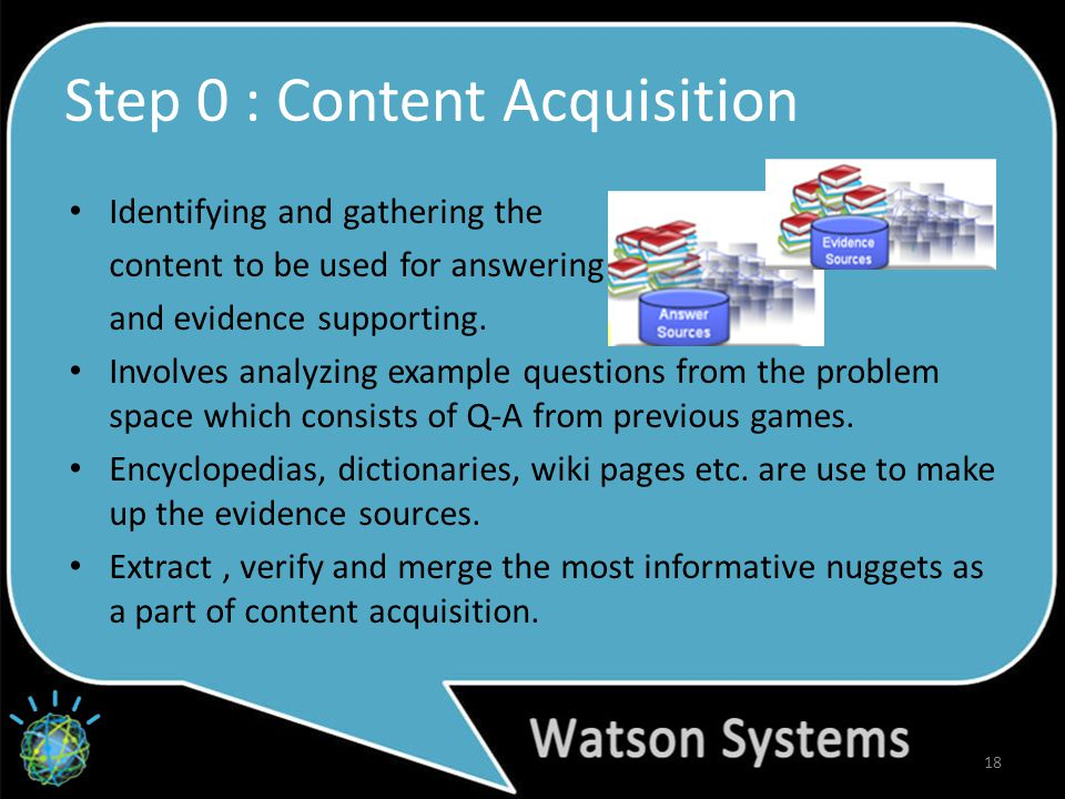 Step 0 : Content Acquisition Identifying and gathering the content to be used for answering and evidence supporting.