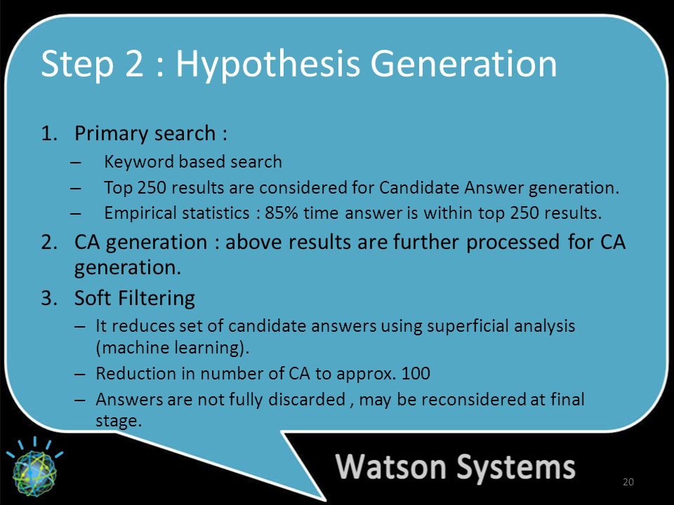 Step 2 : Hypothesis Generation 1.Primary search : – Keyword based search – Top 250 results are considered for Candidate Answer generation.