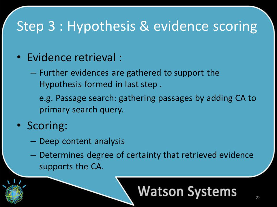Step 3 : Hypothesis & evidence scoring Evidence retrieval : – Further evidences are gathered to support the Hypothesis formed in last step.