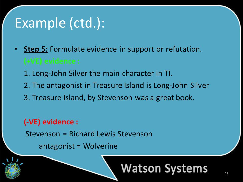 Example (ctd.): Step 5: Formulate evidence in support or refutation.
