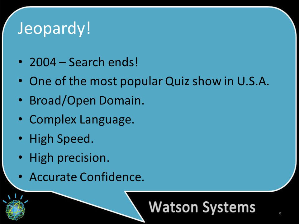 Jeopardy. 2004 – Search ends. One of the most popular Quiz show in U.S.A.
