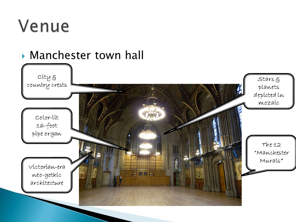  Manchester town hall The 12 Manchester Murals Color-lit 16-foot pipe organ Stars & planets depicted in mozaic City & country crests Victorian-era neo-gothic architecture