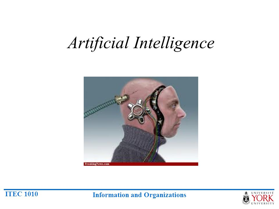 ITEC 1010 Information and Organizations Artificial Intelligence