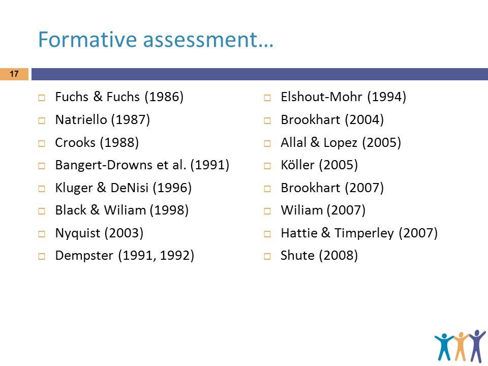 Formative assessment…  Fuchs & Fuchs (1986)  Natriello (1987)  Crooks (1988)  Bangert-Drowns et al.