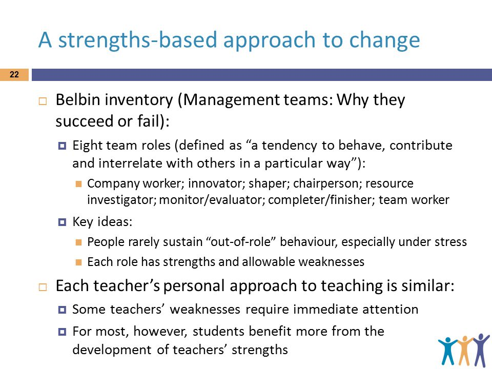 A strengths-based approach to change 22  Belbin inventory (Management teams: Why they succeed or fail):  Eight team roles (defined as a tendency to behave, contribute and interrelate with others in a particular way ): Company worker; innovator; shaper; chairperson; resource investigator; monitor/evaluator; completer/finisher; team worker  Key ideas: People rarely sustain out-of-role behaviour, especially under stress Each role has strengths and allowable weaknesses  Each teacher's personal approach to teaching is similar:  Some teachers' weaknesses require immediate attention  For most, however, students benefit more from the development of teachers' strengths