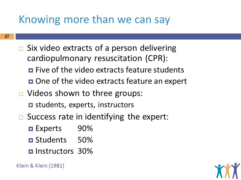Knowing more than we can say 27  Six video extracts of a person delivering cardiopulmonary resuscitation (CPR):  Five of the video extracts feature