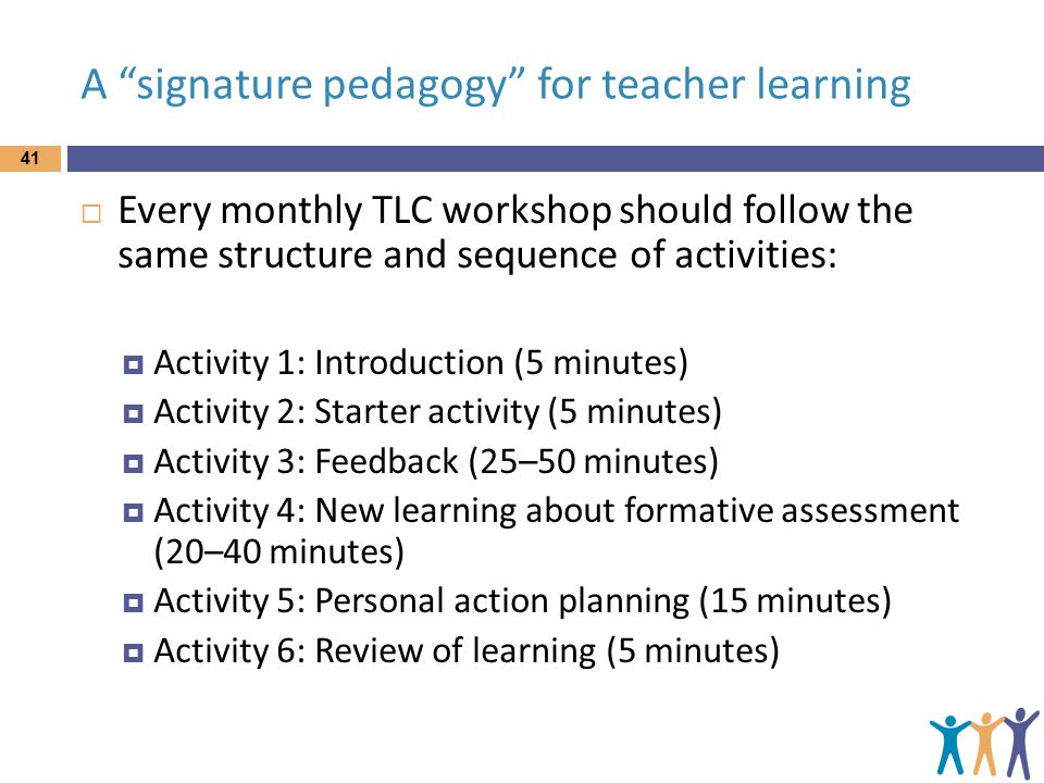 A signature pedagogy for teacher learning  Every monthly TLC workshop should follow the same structure and sequence of activities:  Activity 1: Introduction (5 minutes)  Activity 2: Starter activity (5 minutes)  Activity 3: Feedback (25–50 minutes)  Activity 4: New learning about formative assessment (20–40 minutes)  Activity 5: Personal action planning (15 minutes)  Activity 6: Review of learning (5 minutes) 41