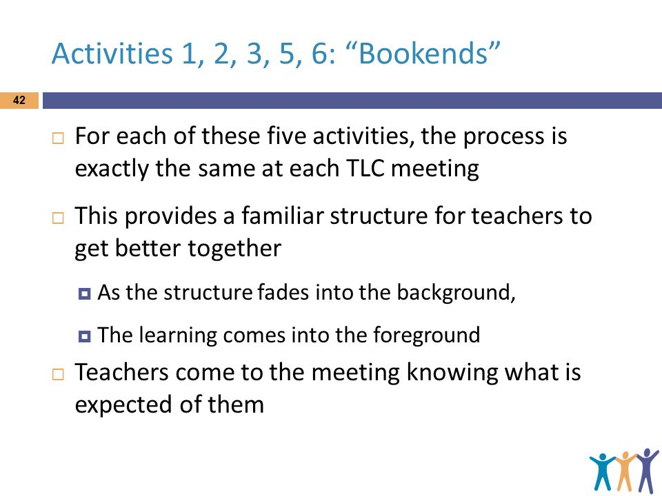 Activities 1, 2, 3, 5, 6: Bookends  For each of these five activities, the process is exactly the same at each TLC meeting  This provides a familiar structure for teachers to get better together  As the structure fades into the background,  The learning comes into the foreground  Teachers come to the meeting knowing what is expected of them 42