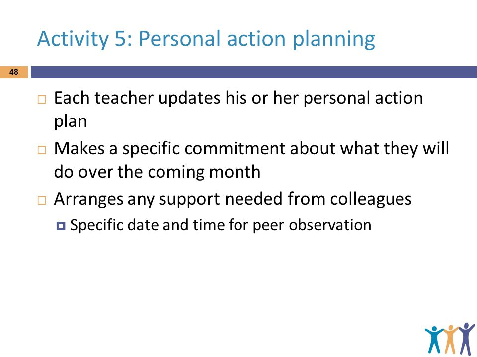 Activity 5: Personal action planning  Each teacher updates his or her personal action plan  Makes a specific commitment about what they will do over