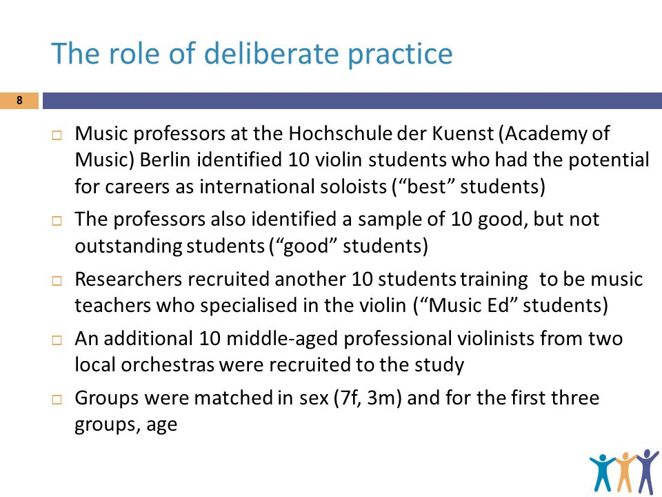 The role of deliberate practice 8  Music professors at the Hochschule der Kuenst (Academy of Music) Berlin identified 10 violin students who had the potential for careers as international soloists ( best students)  The professors also identified a sample of 10 good, but not outstanding students ( good students)  Researchers recruited another 10 students training to be music teachers who specialised in the violin ( Music Ed students)  An additional 10 middle-aged professional violinists from two local orchestras were recruited to the study  Groups were matched in sex (7f, 3m) and for the first three groups, age