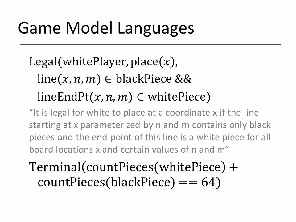 Game Model Languages