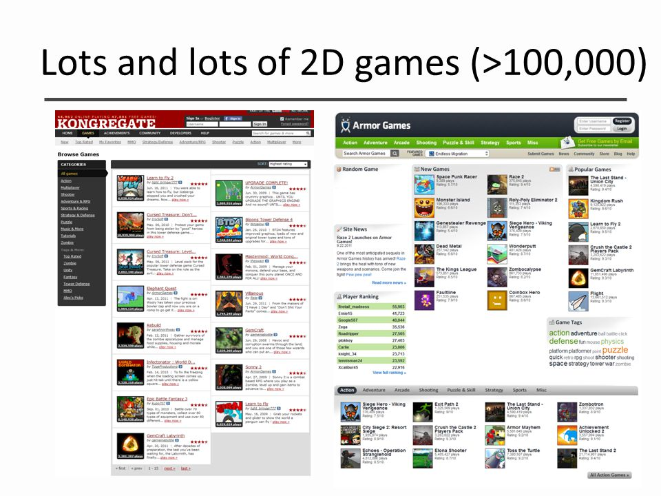 Lots and lots of 2D games (>100,000)