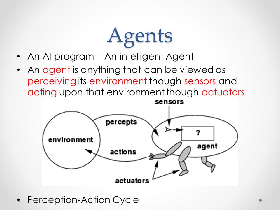 Agents An AI program = An intelligent Agent An agent is anything that can be viewed as perceiving its environment though sensors and acting upon that