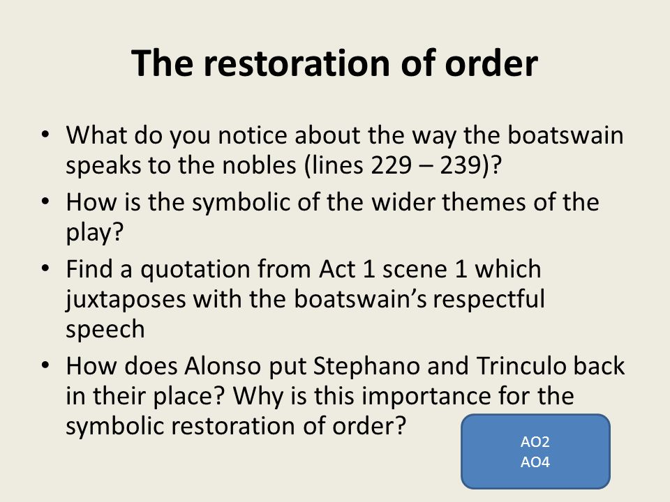 The restoration of order What do you notice about the way the boatswain speaks to the nobles (lines 229 – 239).