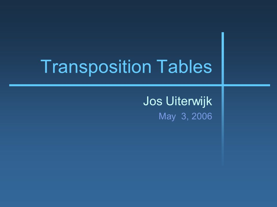 Transposition Tables Jos Uiterwijk May 3, 2006
