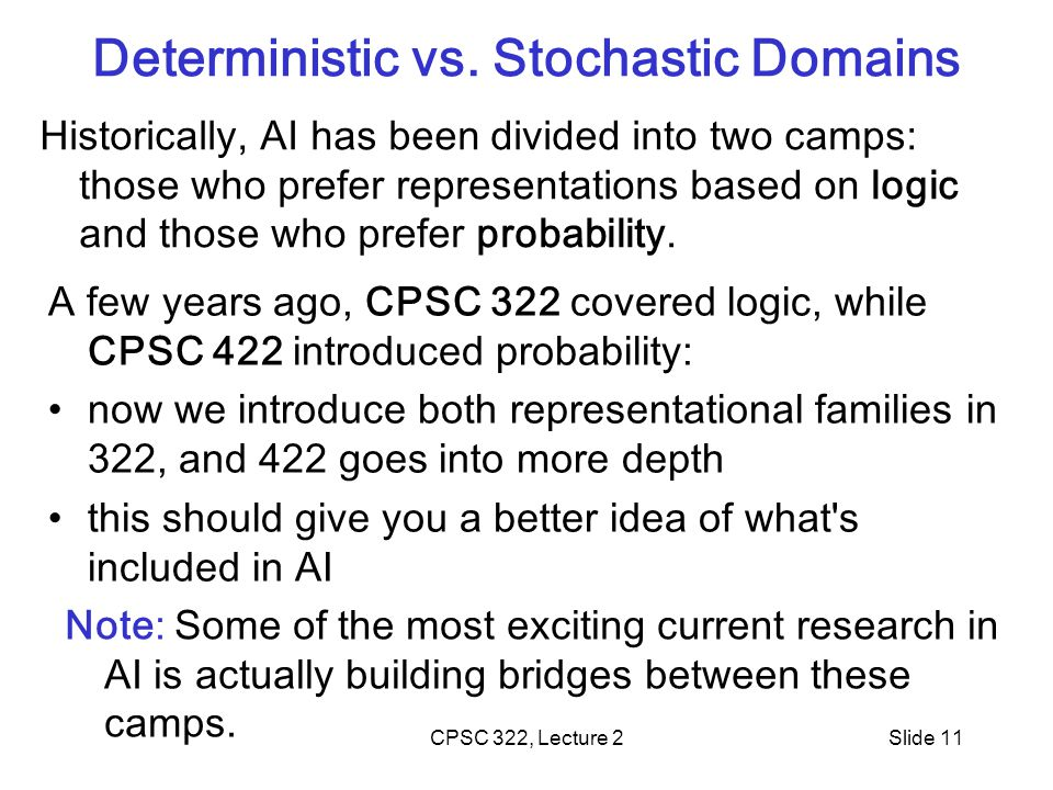 CPSC 322, Lecture 2Slide 11 Deterministic vs.