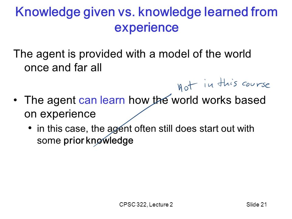 CPSC 322, Lecture 2Slide 21 Knowledge given vs.